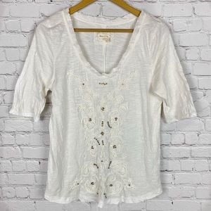 MEADOW RUE by ANTHROPOLOGIE Cream Embellished Top
